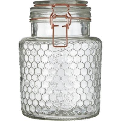 《Premier》蜂巢扣式玻璃密封罐(玫瑰金1.3L)