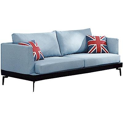 品家居 羅瑟尼現代藍亞麻布獨立筒三人座沙發椅-210x96x74cm免組