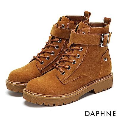 達芙妮DAPHNE 短靴-質感牛皮金屬釦帶綁帶厚底靴-棕