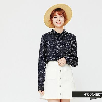 H:CONNECT 韓國品牌 女裝-復古風滿版點點襯衫-藍