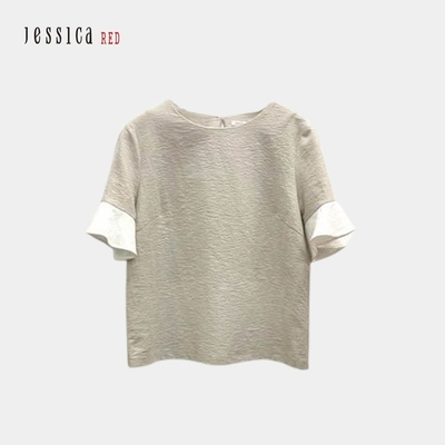 JESSICA RED- 透氣棉質圓領拼接荷葉袖上衣(杏色)