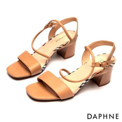 達芙妮DAPHNE 涼鞋-一字撞色拼接粗高跟涼鞋-棕