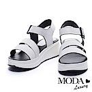 涼鞋 MODA Luxury 簡單魅力條帶牛皮厚底涼鞋-白
