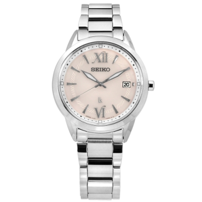 SEIKO 精工 LUKIA 太陽能 藍寶石水晶玻璃 不鏽鋼手錶-淡粉色/33mm