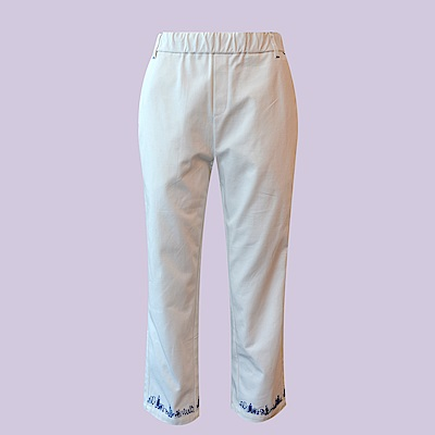 gozo 街頭紐約繡線修身棉質長褲(二色)