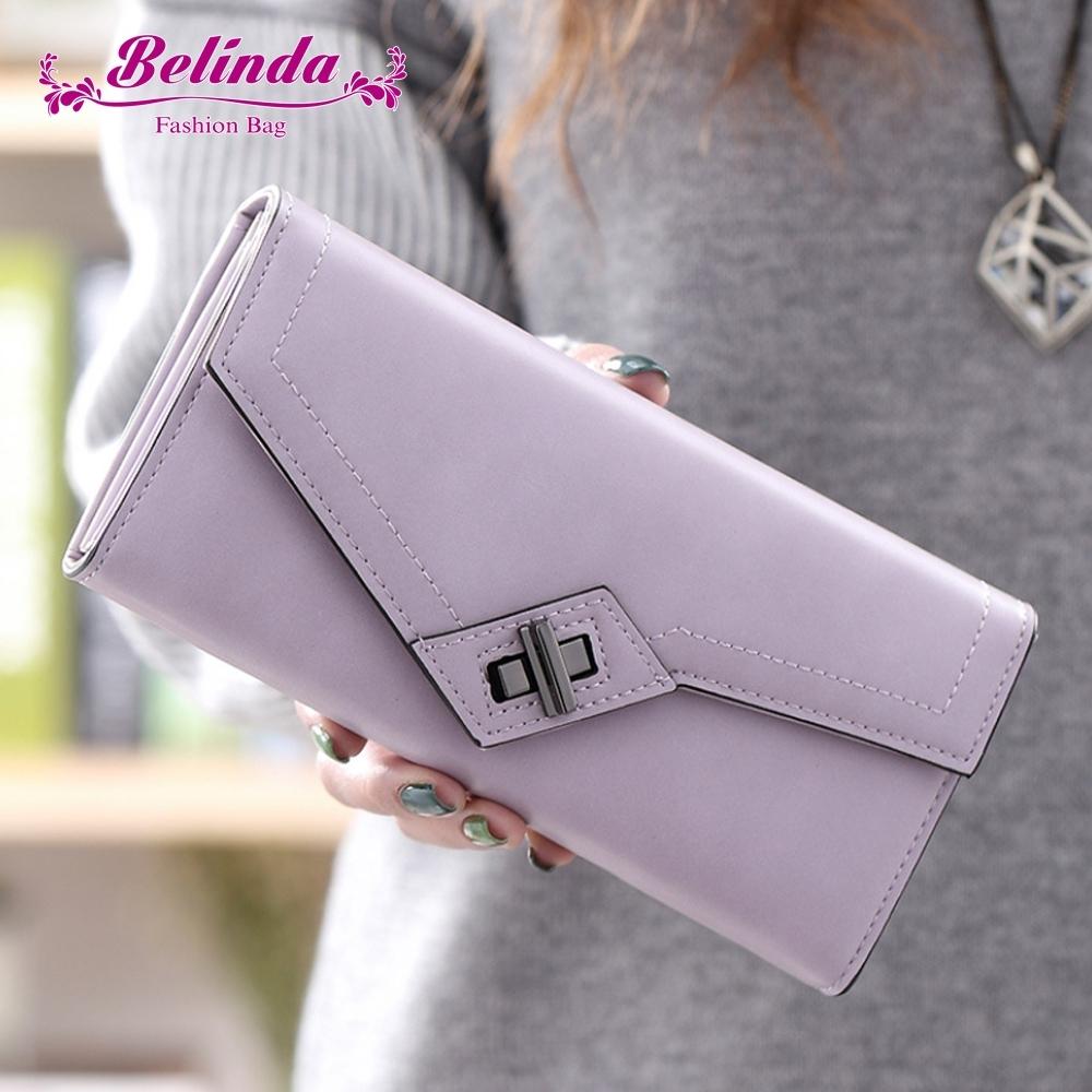 【Belinda】荷蒂拉霧感斜轉扣多格層長夾(紫色)