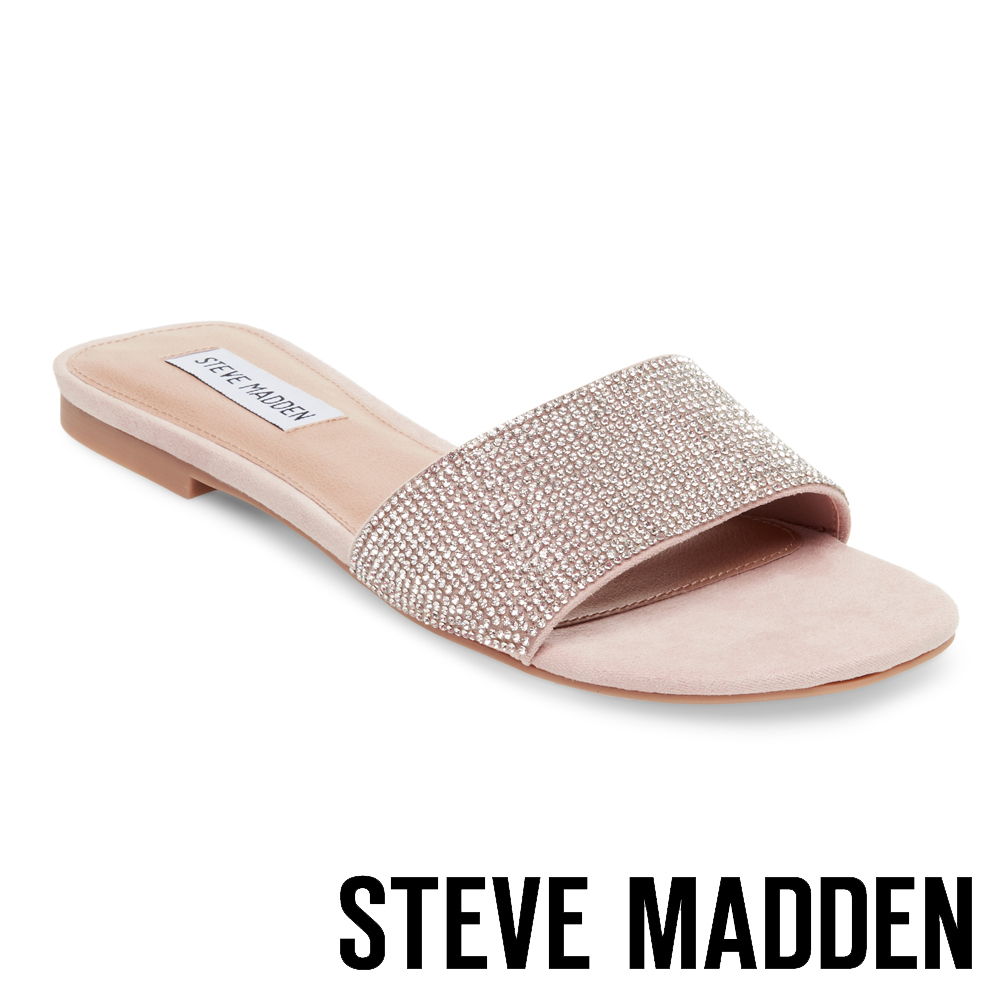 STEVE MADDEN BEVY 水鑽一字低跟拖鞋-粉色