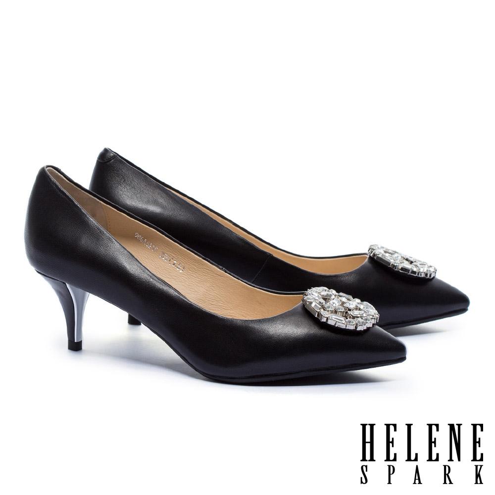 高跟鞋 HELENE SPARK 優雅時尚璀璨白鑽圓形飾釦羊皮尖頭高跟鞋-黑