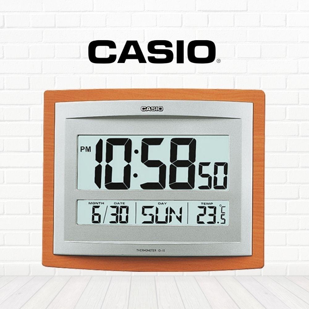 CASIO卡西歐 木紋方形電子掛鐘(ID-15S-5D)
