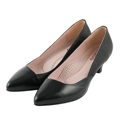 BESO優雅質感 格紋羊皮拼接跟鞋~黑