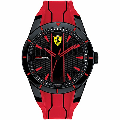 Scuderia Ferrari 法拉利 RedRev 競速手錶-黑x紅/44mm