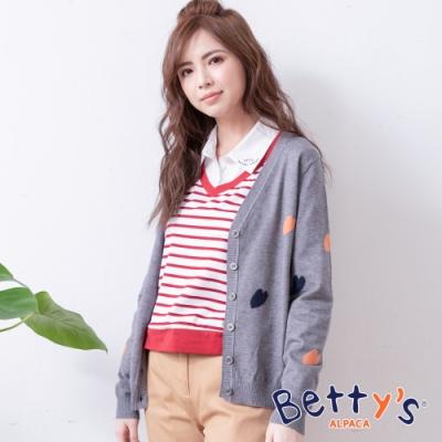 betty's貝蒂思 學院風跳色心型針織罩衫(灰色)