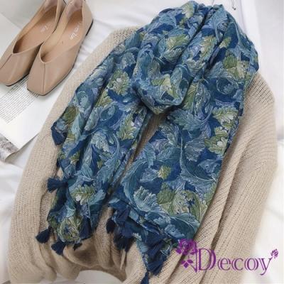 Decoy 油畫藍葉 流蘇時尚棉柔透膚圍巾