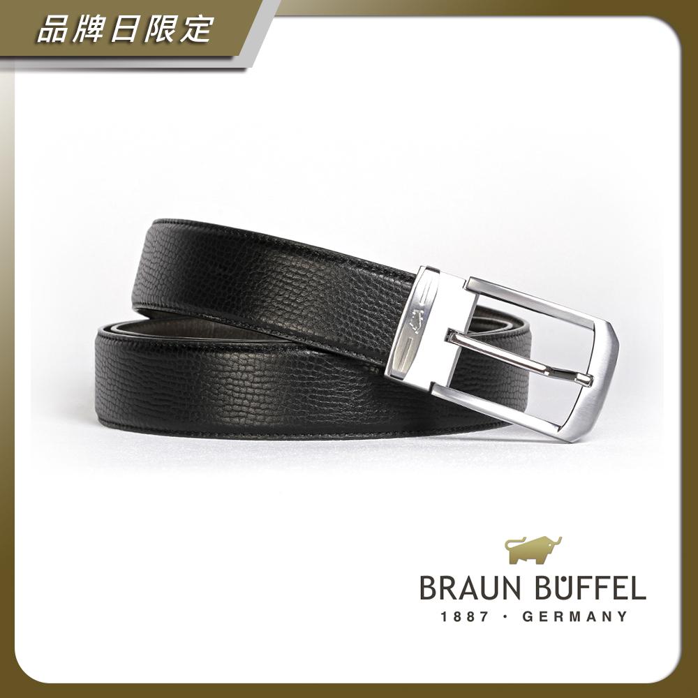BRAUN BUFFEL - 沉穩紳士品味穿針式皮帶 - 銀色