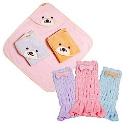 COTEX 可透舒 -呵護寶貝兩件組  安穩肚圍包巾1入   微笑貝爾熊浴巾1入