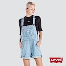 Levis 女款 牛仔吊帶褲 復古高腰剪裁 側鈕扣開口 雙口袋 淺藍