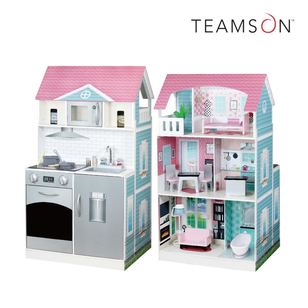 Teamson 艾芮兒奇境2合1木製娃娃屋廚房組