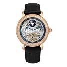 PARKER PHILIP派克菲利浦雙發條盒日月相兩地時區晶鑽鏤空擺輪限量機械腕錶(玫殻/黑帶)