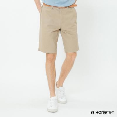 Hang Ten - 男裝 - 素色純面棉質短褲-卡其