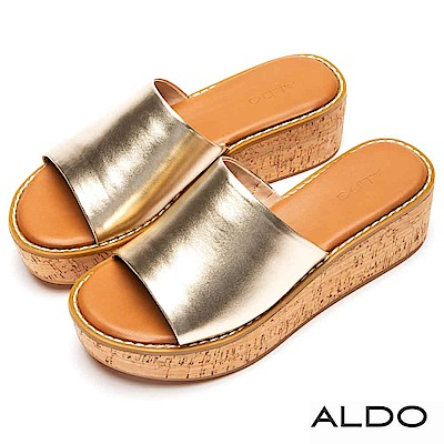 ALDO 原色羊皮鞋面軟木塞式厚底涼拖鞋~名媛金色