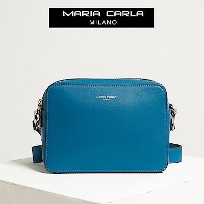 【Maria Carla】縹色_拉鏈式雙夾層側背包_日光休閒_二層牛皮