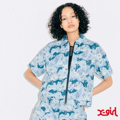 X-girl BOX SILHOUETTE WORK SHIRT短袖襯衫-藍