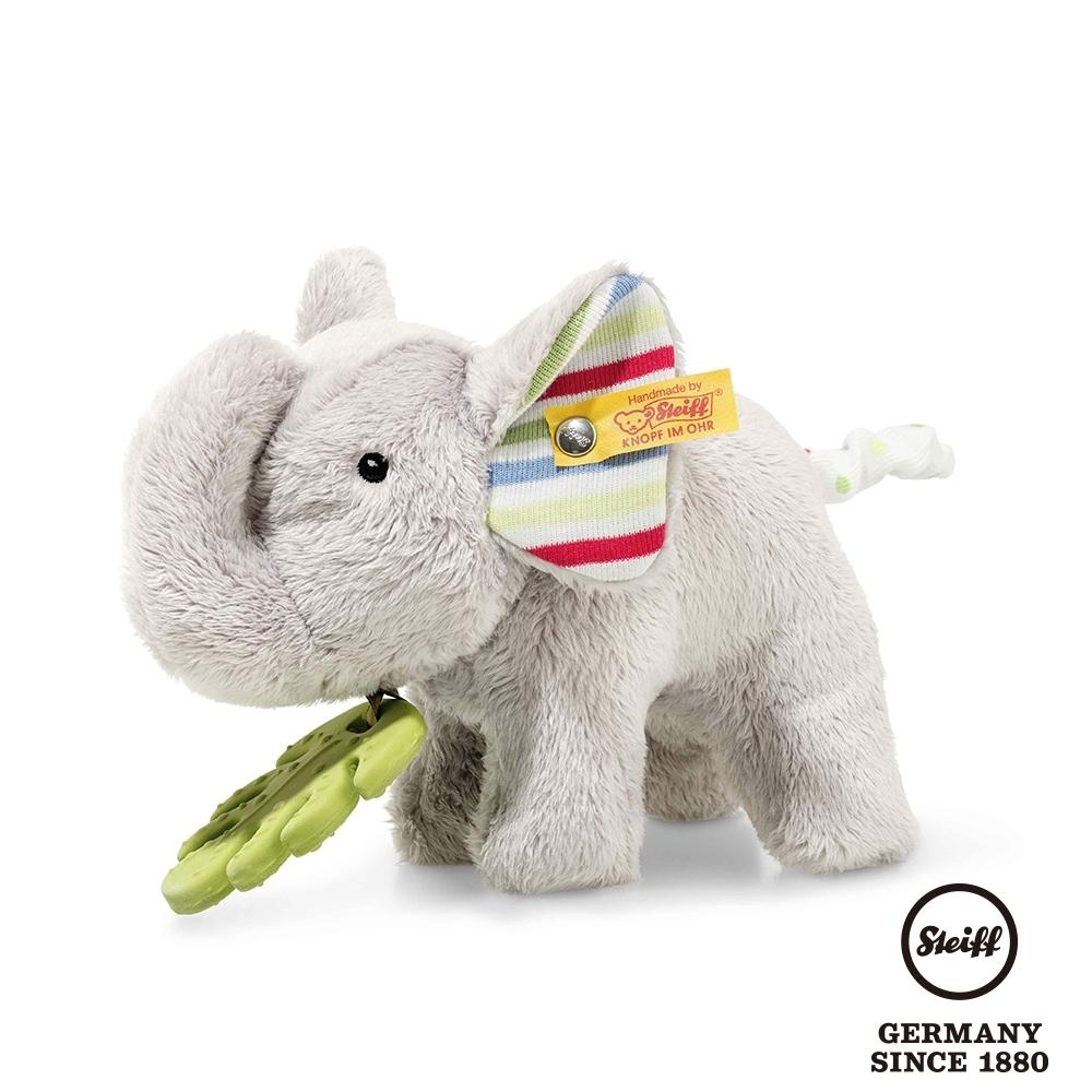 STEIFF德國金耳釦泰迪熊  糖果小灰象  Timmi Elephant with teething ring and rustling foil (嬰幼兒玩偶)
