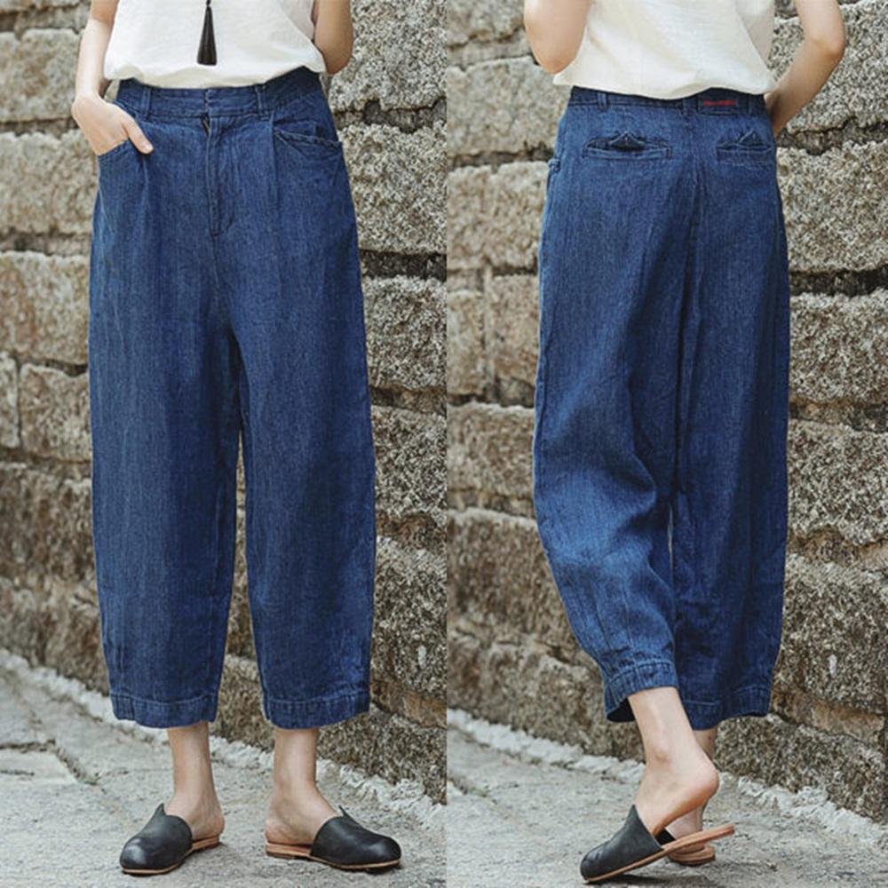 牛仔褲-亞麻寬鬆寬管九分-K8497-設計所在