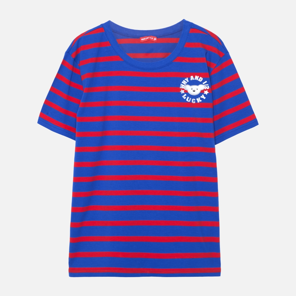 WHY AND 1/2 條紋棉質萊卡T恤-親子裝  ~ 成人尺寸 (藍色)