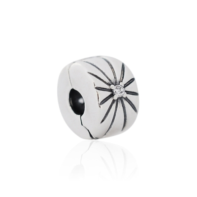 Pandora 潘朵拉 閃亮旭日形夾扣式 純銀墜飾 串珠