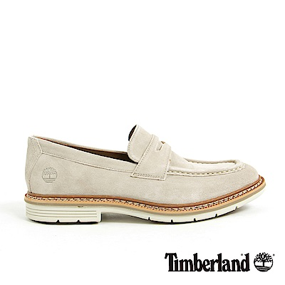 Timberland 男款淡灰褐色麂皮橫帶樂福鞋