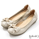 DIANA 3.5公分金屬圓環珍珠飾釦蝴蝶結楔型娃娃鞋-珍珠米 product thumbnail 1