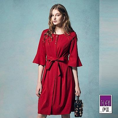ILEY伊蕾 時尚優雅珠飾繫繩洋裝(紅)