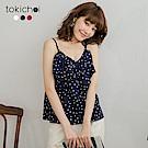 東京著衣 甜美復古圓點交錯荷葉領上衣(共三色)