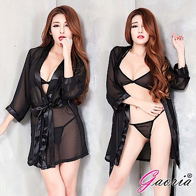【Gaoria】漫步香榭 雪紡睡袍 性感情趣睡衣 黑