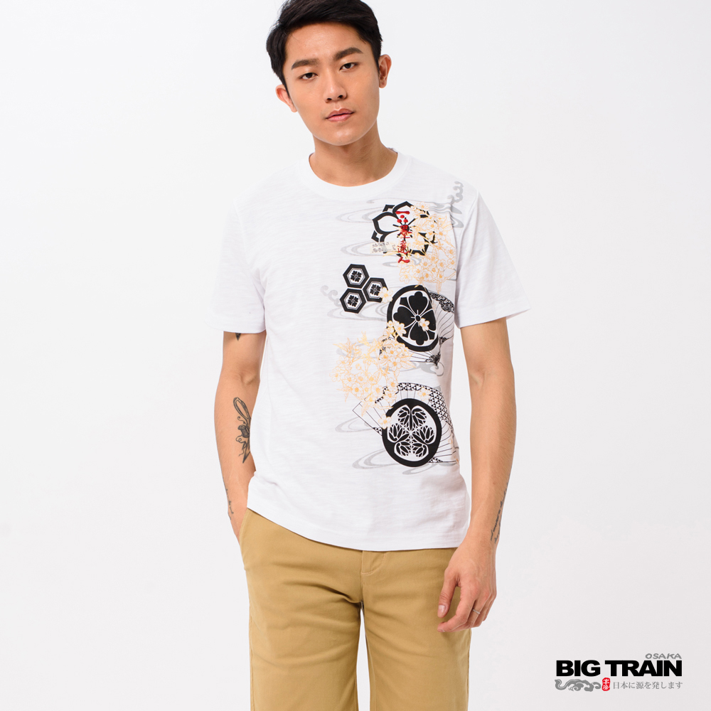 BIG TRAIN 和風春宴圓領短袖-男-白色