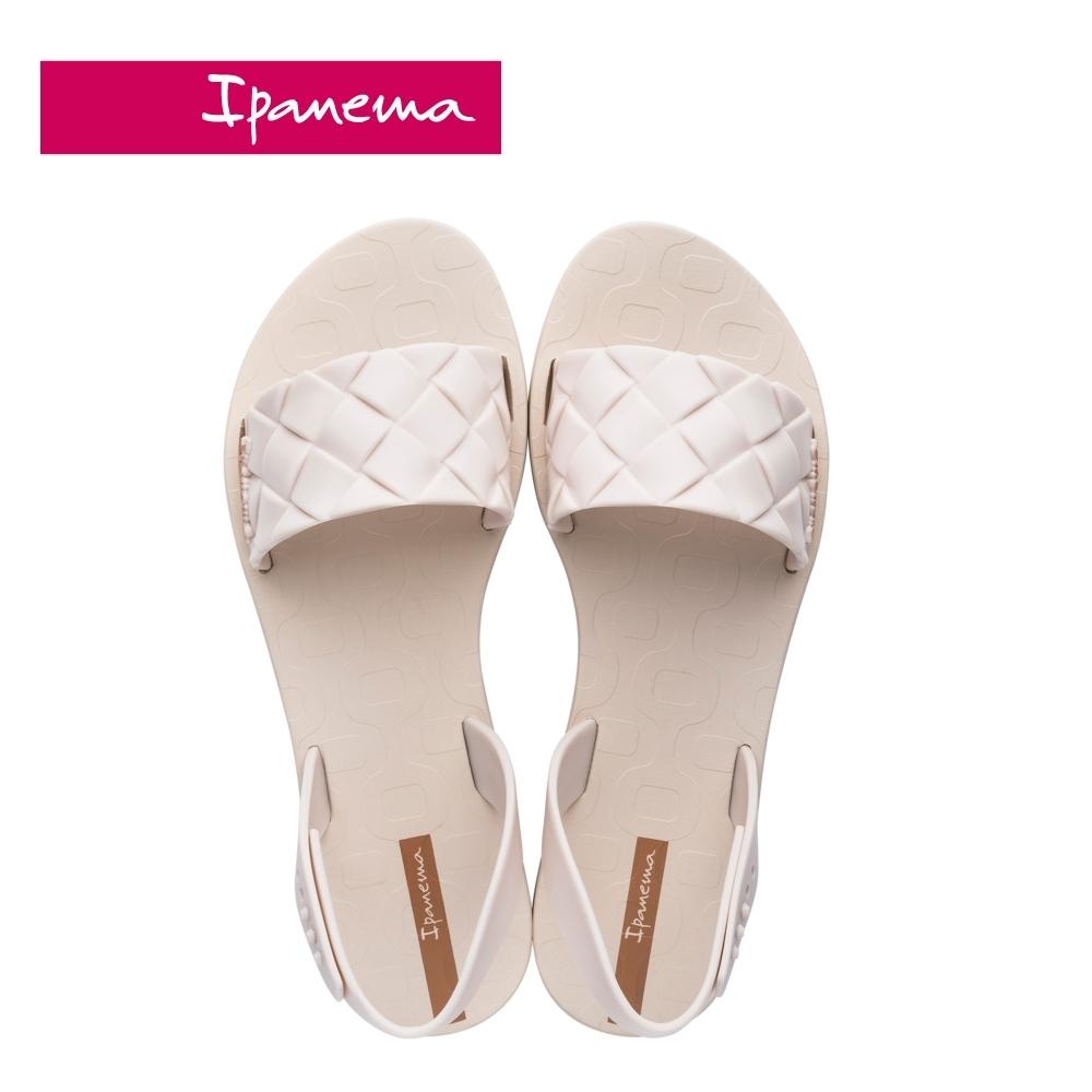Ipanema  GO TREND菱格紋一字涼鞋-米