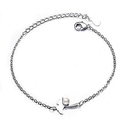 iSFairytale伊飾童話 楓葉珍珠 絲光磨砂白銀銅鍍30銀手鍊