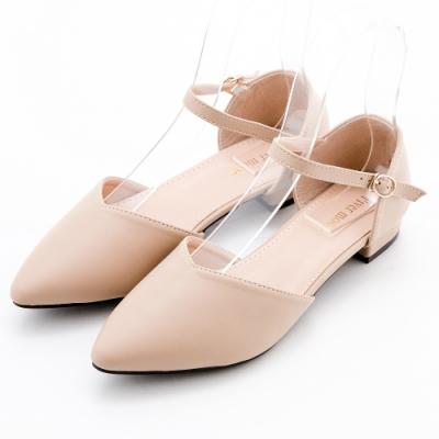 River&Moon法式簡約素面繞踝後包尖頭低跟鞋 粉杏