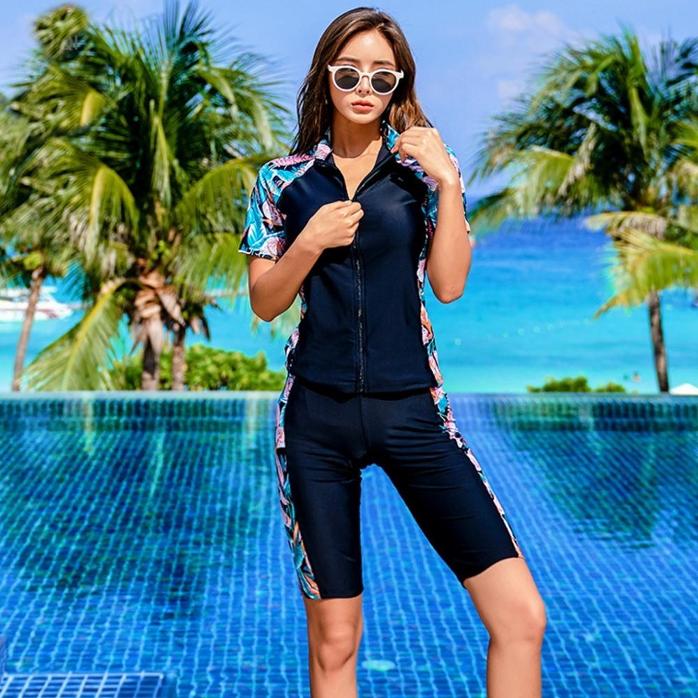 Biki比基尼妮泳衣,花邊五分褲短袖拉鍊泳衣二件式泳裝(M-3XL)