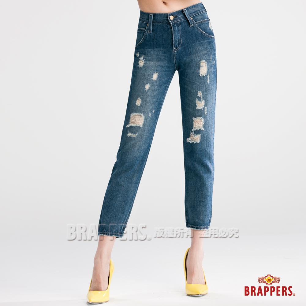BRAPPERS 女款 Boy Friend Jeans系列-女用彈性八分褲-復古藍