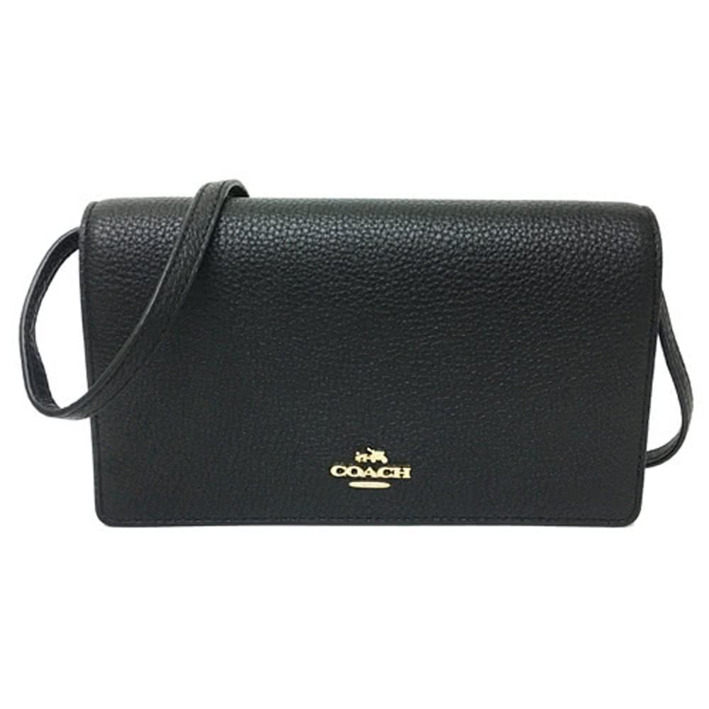 COACH 經典金屬馬車全皮革長夾式小斜背包(黑)