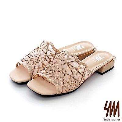 【SM】晶鑽真皮系列--歐美時尚性感透明感晶鑽方頭低楔型拖鞋(2色)
