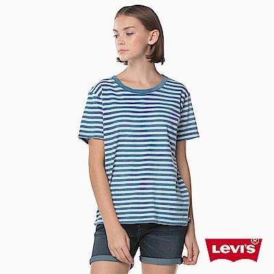 T恤 女裝 短袖純棉TEE 圓領 藍白條紋 - Levis