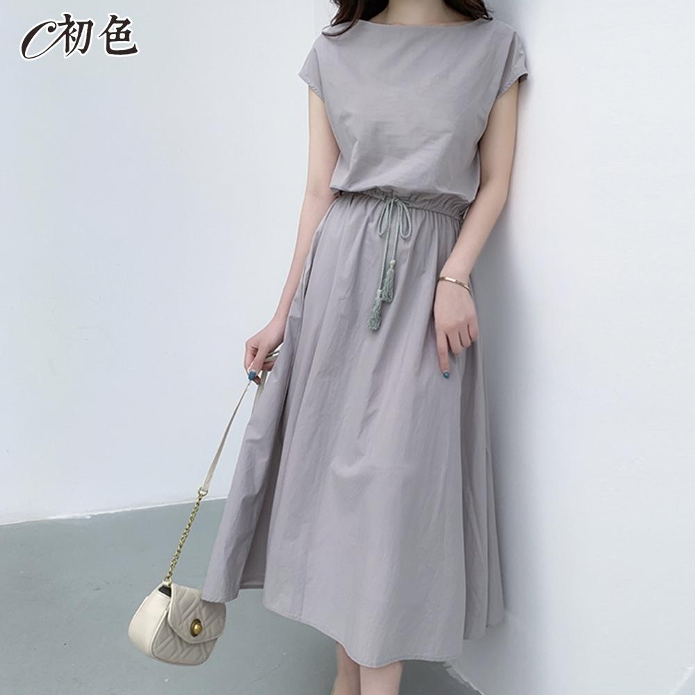 初色  文藝大裙擺綁帶洋裝-共5色-(M-2XL可選)