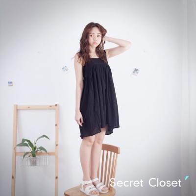 Secret Closet-純色棉麻細帶無袖上衣-黑色