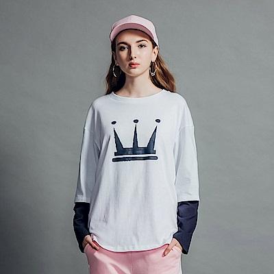 DADA SUPREME 皇冠八分袖運動假兩件上衣-女款-白