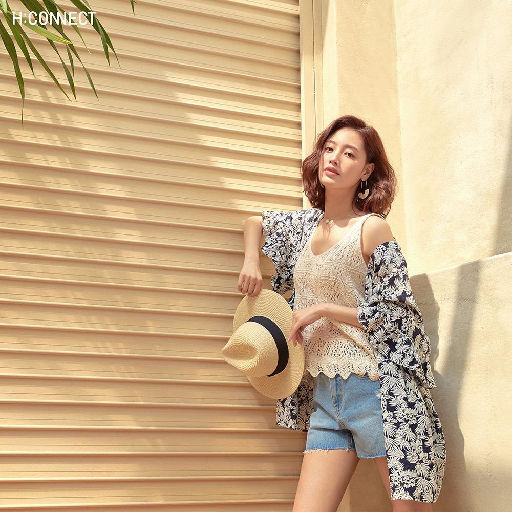 H:CONNECT 韓國品牌 女裝-造型針織背心-卡其