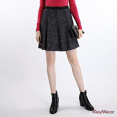 KeyWear奇威名品  韓國進口多片裁片拼接蕾絲短裙-深藍色