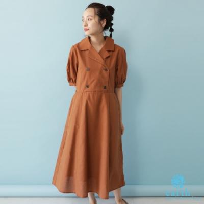 earth music  雙排釦襯衫領泡泡袖連身洋裝